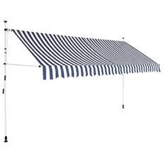 Tenda Da Sole Retrattile Manuale 400 Cm A Strisce Blu E Bianche