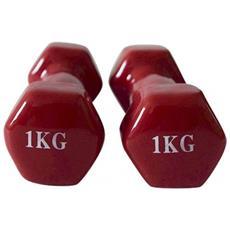 Coppia Dumbbell Pesetti Palestra Rosso Allenamento Muscolare Braccia Casa 2x1kg