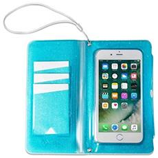 Flip Cover Custodia impermeabile SplashWallet per smartphone da 6.2' colore Blu