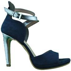 425947a43a409 DONNA - Sandali Scarpe Con Tacco Donna Open Toe Blu Argento Made In Italy 37