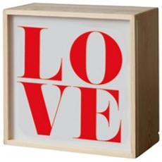 Lampada da tavolo in legno Lightink Boxes con 4 pannelli in Perspex intercambiabili Dimensioni 21x10,5x21 cm