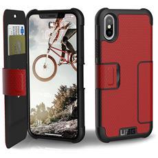 Flip Cover Custodia per iPhone X Colore Rosso e Nero