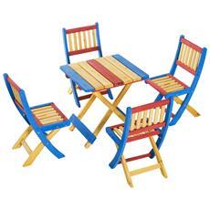 Set Tavolino Per Bambini Con 4 Sedie Pieghevoli In Legno Di Abete Colorato