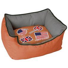 Cuccia Imbottita, comoda Per Cani Misure: 70x60xh29 Cm. colore Arancio
