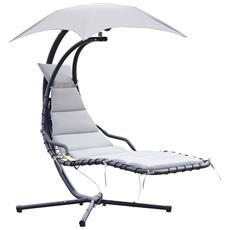 Lettino Sdraio Sospeso Relax Chaise Lounge Di Lusso Con Tettuccio, Grigio