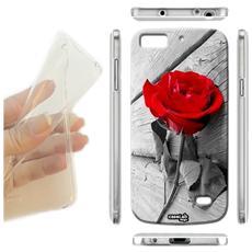 Cover Morbida Slim TPU Rosa Rosse Bianco per Samsung Galaxy A8 Sm-A800F
