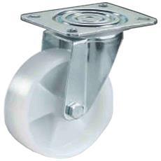 Ruota In Nylon Bianco Con Gabbia A Rulli D. 80 Kg. 100 Montata Su Supporto Rotante Ruota Monolitica In Poliammide Ruote Per Carrelli Settore Industriale