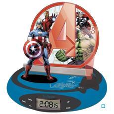 Rp500av - Radiosveglia Proiettore The Avengers, Design Captain America, Luce Notturna Integrata, Proietta L'ora Sul Soffitto, Effetti Sonori, A Batterie, Blu