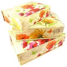 set di 3 memorie scatola di nidificazione 'jardin botanique' arancione rosa beige - [ k5033]