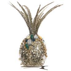 1 Decorazione Appendibile Ananas Con Clip 8x23cm Addobbi Natale Albero