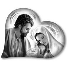 Capezzale Decorativo In Legno Heart Nativity Grey 40x50 Cm
