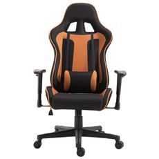 Sedia Da Gaming Con Rotelle Reclinabile Girevole In Tessuto, Nero E Arancione