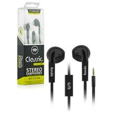 Classic Auricolare Stereo Jack 3,5 mm con Microfono + Tasto di Risposta Colore Nero