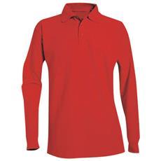 Polo Manica Lunga In Cotone Piquet Colore Rosso Taglia 2xl