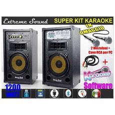 Impianto 2 Casse Karaoke 1200w Bluetooth 2 Microfoni Cavo Pc Software Mix-02-kit