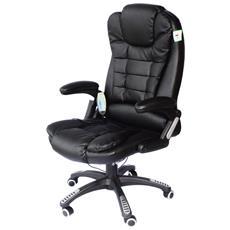 Poltrona Da Ufficio Massaggiante In Ecopelle Colore Nero Dimensioni 62x68x111-121cm