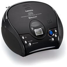 Lettore CD Portatile Radio FM Bluetooth Colore Nero