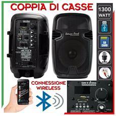 Coppia Casse 8 Pollici Con Mp3 -bluetooth - Ingresso Mic Con Eco - 100watt- Rms