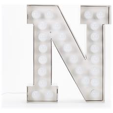 Lampada Lettera N in Metallo con Lampadine LED Altezza 60cm - Linea Vegaz