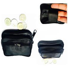 065e0aa5c5 TAKESTOP - Portamonete Nero Con Passante Cintura Tinta Unita Doppia Zip In  Eco Pelle Porta Monete Borsellino Wallet Uomo Donna