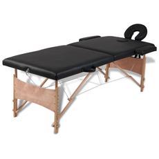Lettino Pieghevole Da Massaggio Nero 2 Zone Con Telaio Legno