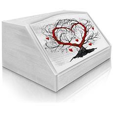 Portapane Con Decoro In 'l'albero Dell'amore White' In Legno White Dalle Dimensioni Di 30x40x20 Cm