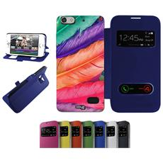 Flip Cover Blu Piume Colorate Per Huawei G Play Mini Blu - Custodia Protettiva Richiudibile