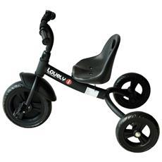 Triciclo In Metallo Con Campanello, Parafango, Ruota Speciale, Nero