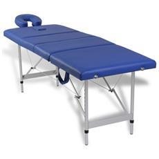 Lettino Pieghevole Da Massaggio Blu 4 Zone Con Telaio Alluminio