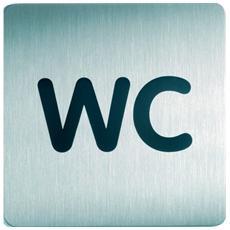 """""""pz. 1 Pittogramma Square """"WC"""" argento metallizzato 495723"""