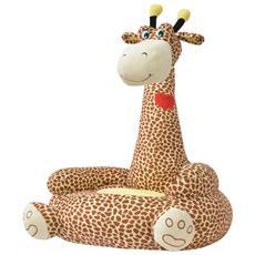 Poltrona In Peluche Per Bambini Giraffa Marrone