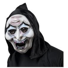 Maschera da Strega con Cappuccio in Polivinilcloruro e Poliestere Colore Nero e Bianco