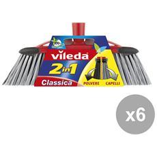 Set 6 Scopa Classica 2 In 1 Attrezzi Pulizie
