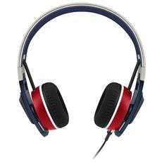 Cuffie Bluetooth con Microfono Cablato Urbanite Nation Colore Blu Rosso