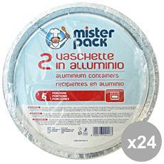 Set 24 Contenitore Alluminio Pizza X 2 Pezzi Mr. pack T45g Contenitori Per La Cucina