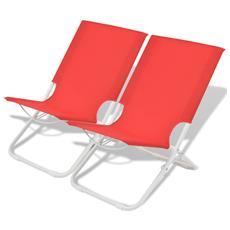 2 Pz Sedie Pieghevoli Da Campeggio In Acciaio Rosso 48x60x62 Cm
