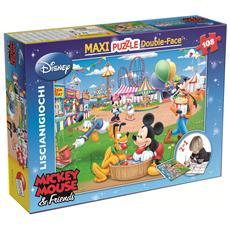 Puzzle Double-Face Supermaxi Mickey Mouse 108 pz 39.5 x 28.2 x 7 cm 37247