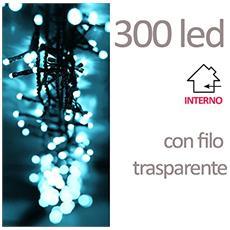 Xmas Filo 300 Led Trasparente Uso Interno Plastica Bianco 13.5 M