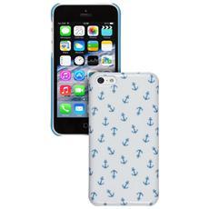 Custodia rigida lucida per iPhone 5C, colore: Bianco / Blu
