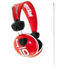IC-MC1D0268 - Cuffia One Direction Rossa per Bambini, anni 8+