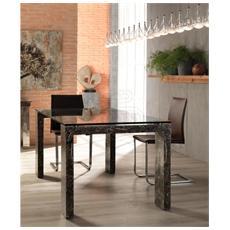 Tavolo Da Pranzo Fisso Con Gambe In Fossilstone E Piano In Vetro Trasparente Millerighe 2 Fs015ska