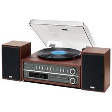 Giradischi MCD800 Lettore CD Radio FM Ingresso USB colore Marrone