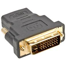 DVI-HDMI Adapter, DVI M - HDMI F, Nero, 50 x 40 x 15 mm