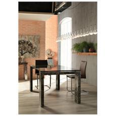 Tavolo Da Pranzo Fisso Con Gambe In Fossilstone E Piano In Vetro Trasparente Millerighe 2 Fs015skb