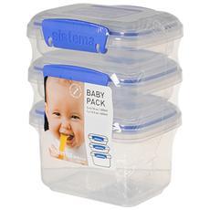 Confezione 3 Contenitore Ermetico Polipropilene Baby Packs Contenitori