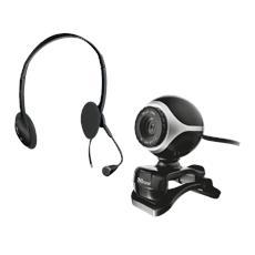 Kit Webcam + Cuffie con microfono Exis ChatPack - Nero