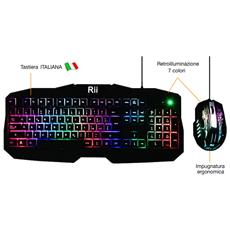 Gaming Rk400 (layout Italiano) Set Tastiera E Mouse Da Gioco Retroilluminati A Led 7 Colori, 2000 Dpi
