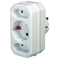 Adapter with 2 + 1 sockets, Bianco