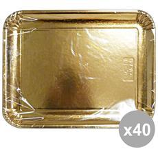 Set 40 Vassoio Carta Rettangolare Oro 31x42 Cm. X 2 Pezzi 63076 Contenitori Per La Cucina