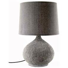 Lampada Comodino Como Lume Ceramica Grigio Design Cm 30 X 34 X 53 H